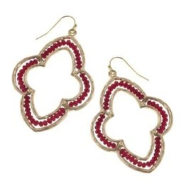 Canvas Burgundy Glass Bead Moroccan Earrings