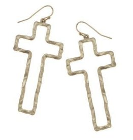 Canvas Hammered Cross Earring