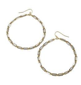 Canvas Glass Bugle Bead Hoop Earrings Gold & White