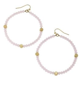 Canvas Beaded Glass Hoop Earrings Pink & Gold