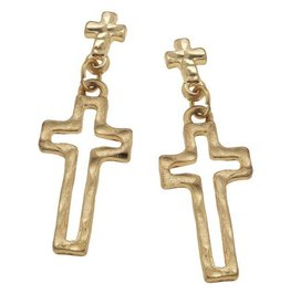 Canvas Small Top-Stud Cross Earrings
