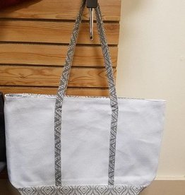 Mimi's Wholesale Grey White Tote Large Monogram Included