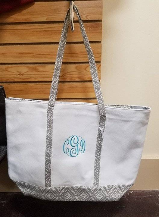 Mimi's Wholesale Grey White Tote Large Monogram Included - Nest ...