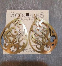 Scooples Jewelry Bronze Filigree Teardrop Earring