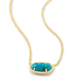 Kendra Scott Elisa Necklace Gold Bronze Veined Turquoise- Kendra Scott