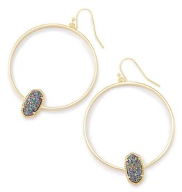 Kendra Scott Elora Earring Multi Drusy Gold- Kendra Scott