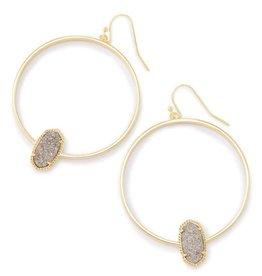 Kendra Scott Elora Earring Platinum Drusy Gold -Kendra Scott