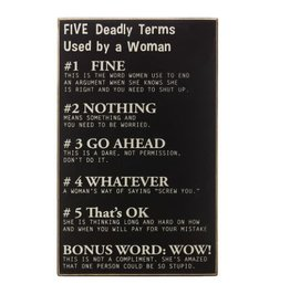 Five Deadly Terms By Woman Sign