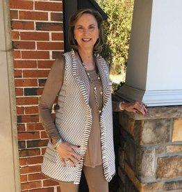 Jacquard Knit Long Vest w/ Faux Leather Trim