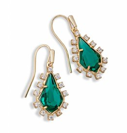 Kendra Scott Juniper Earring Emerald Glass, Brass