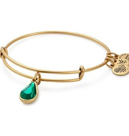 Alex and Ani Swarovski Teardrop Color Code EWB May, Emerald Gold