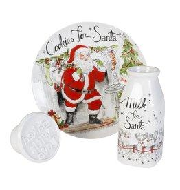 Fitz and Floyd Vintage Holiday Milk & Cookies w/ Cookie Press