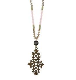 Canvas Beaded Ethiopian Cross Necklace