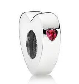 Pandora Jewelry Spacer Two Hearts Red CZ