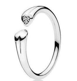 Pandora Jewelry Ring Two Hearts Clr CZ