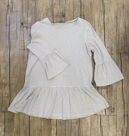 3/4 Flounce Sleeve Striped Knit Tunic w/ Flounce Hem