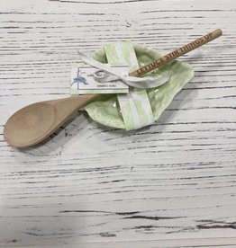 Twos Company Inc. Lettuce Spoon Rest w/ Wooden Spoon