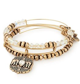 Alex and Ani Mom Set of 3 Gold