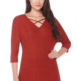 Crisscross Strap Grid Knit Tunic