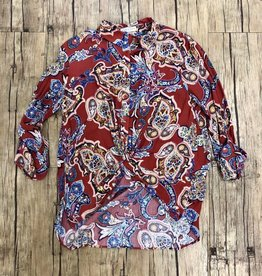 Long Sleeve Paisley Print Top w/ Front Knot Detail