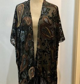 Good Bead Inc Paisley Velvet Burnout Kimono, Navy/Taupe