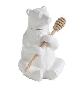 "Creative Co-Op 7"" Ceramic Bear Honey Pot w/ Honey Dipper"