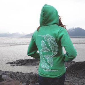 Narwhal (Kelly Green)- Fleece Zip, Unisex
