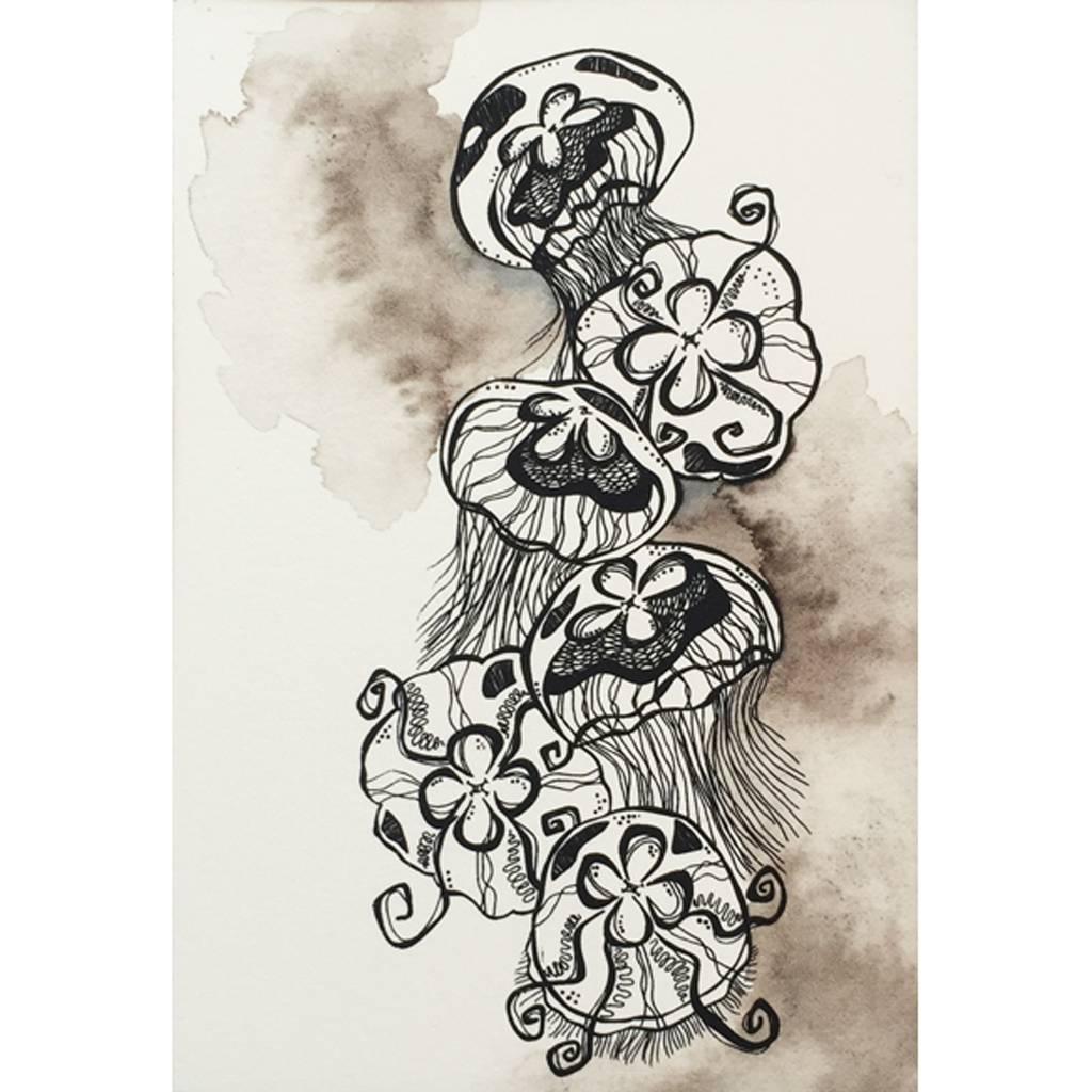 Moon Jellies- Octopus Ink Watercolor
