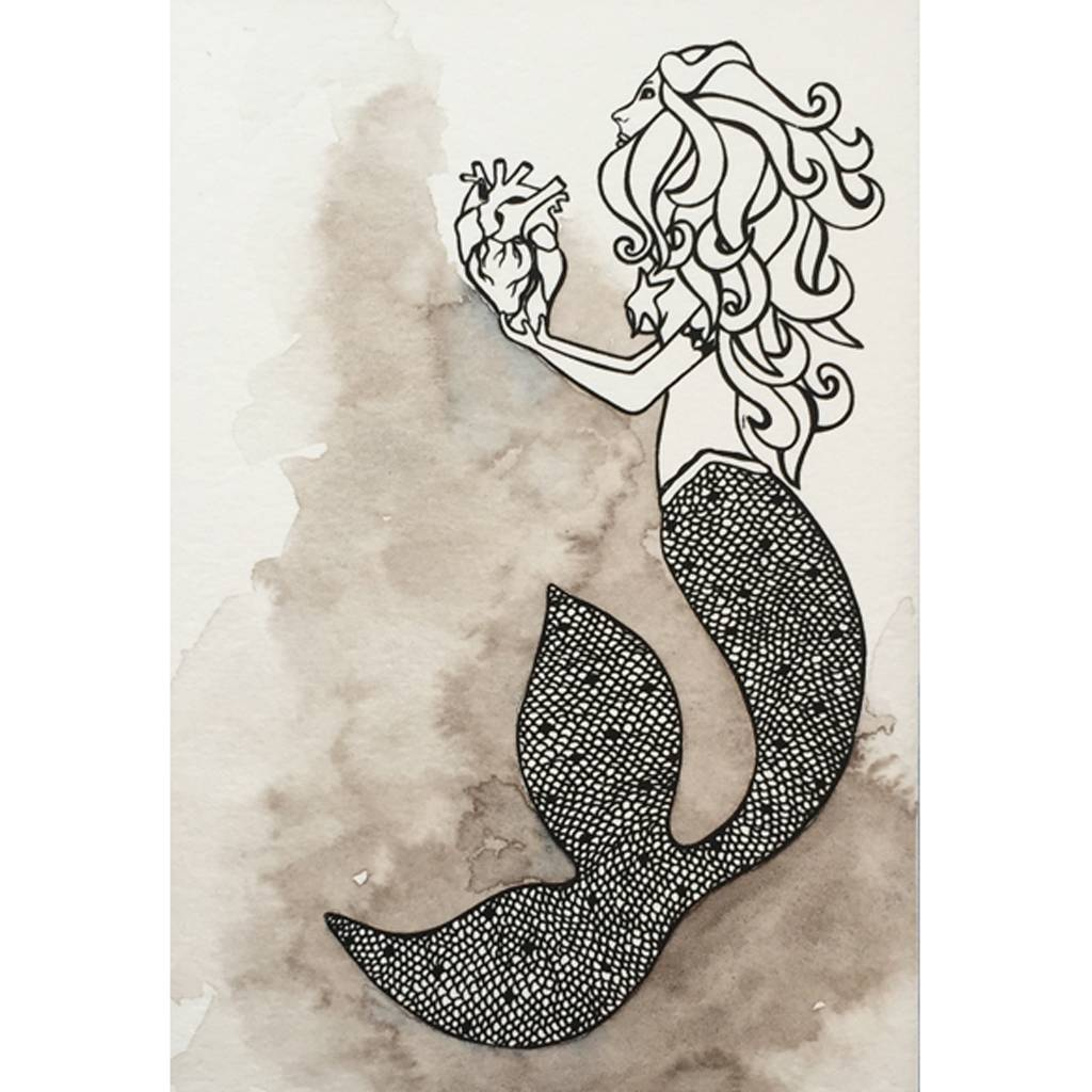 Mermaid's Heart- Octopus Ink Watercolor