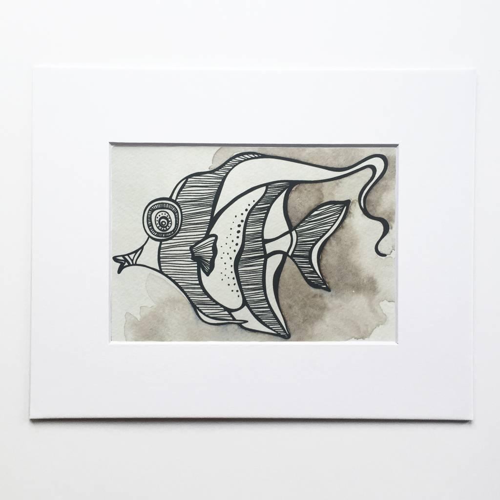Moorish Idol- Octopus Ink Watercolor