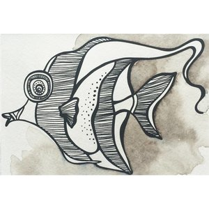 Moorish Idol- 5 x 7 Octopus Ink Watercolor