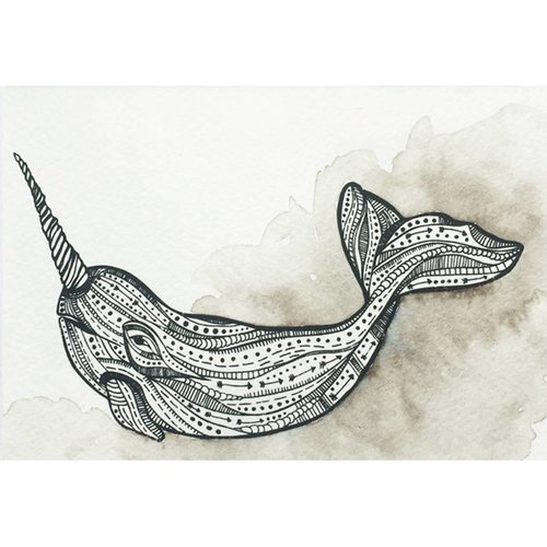 Narwhal- 5 x 7 Octopus Ink Watercolor