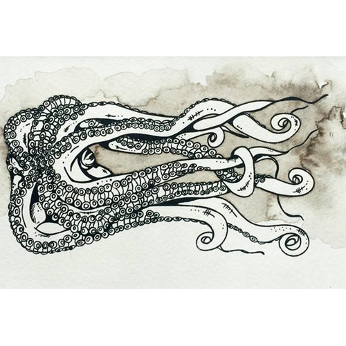 Kraken- 5 x 7 Octopus Ink Watercolor