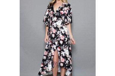 ESSIE FLORAL WRAP DRESS