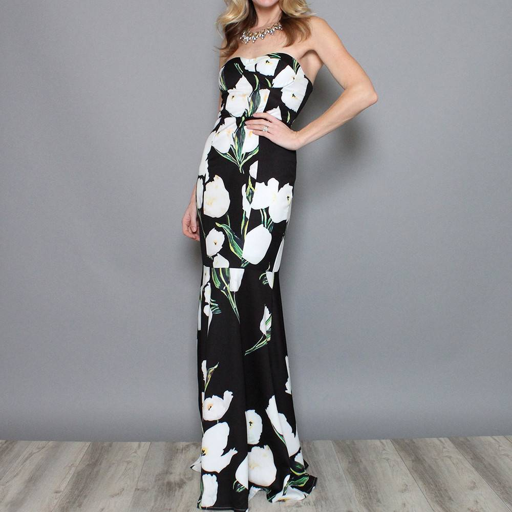 DARBY STRAPLESS FLORAL GOWN