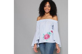 ALYX EMBROIDERED BELL SLEEVE TOP