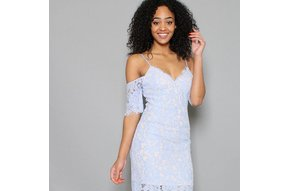 BARDOT COLD SHOULDER LACE DRESS