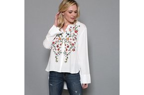 STELLA EMBROIDERED BUTTON UP TOP