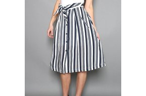 WALDORF STRIPED A-LINE SKIRT