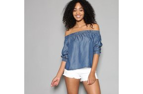 MILEY CHAMBRAY OFF THE SHOULDER TOP