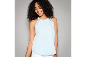 RITA RUFFLED CHAMBRAY TANK TOP