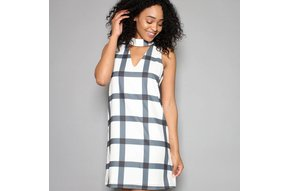 LOLA PLAID SHIFT DRESS