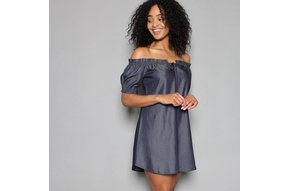 MEGHAN DENIM OFF THE SHOULDER DRESS