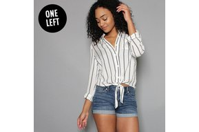 MARGARET STRIPED TIE FRONT TOP