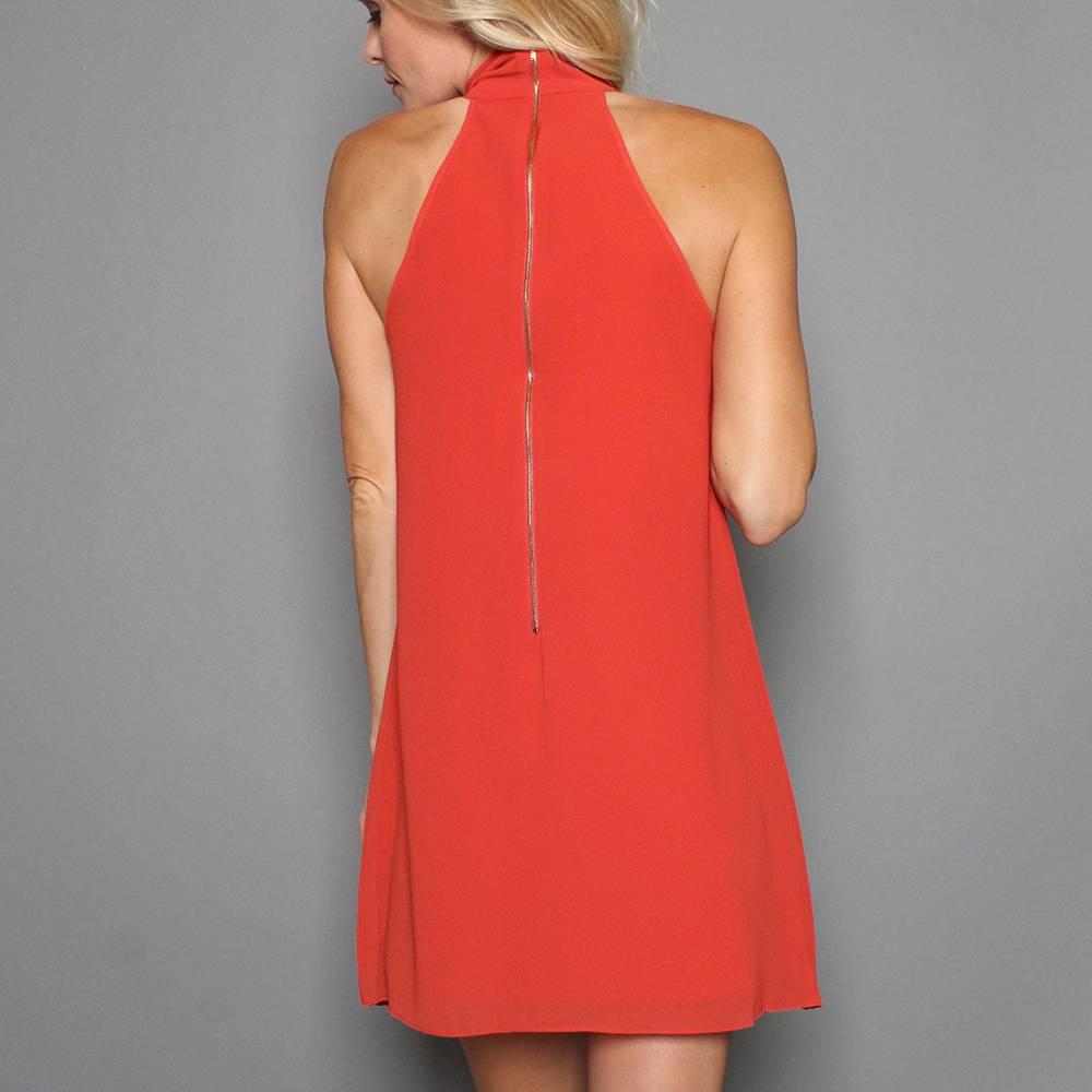 GEORGINA HIGH NECK PLEATED DRESS