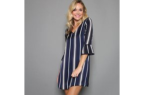 MARISSA STRIPED SHIFT DRESS