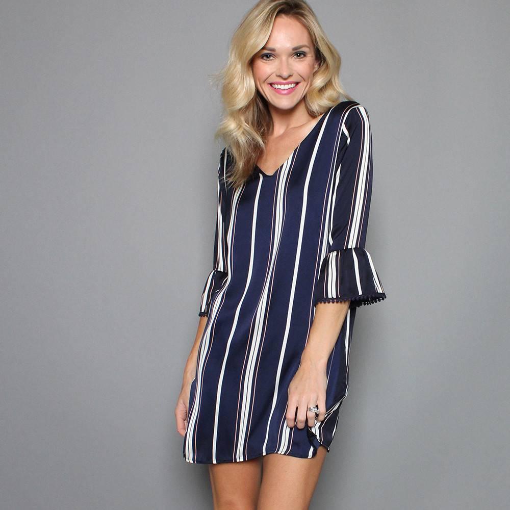 MARISSA STRIPED SHIFT DRESS