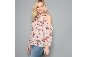LESLIE FLORAL COLD SHOULDER TOP