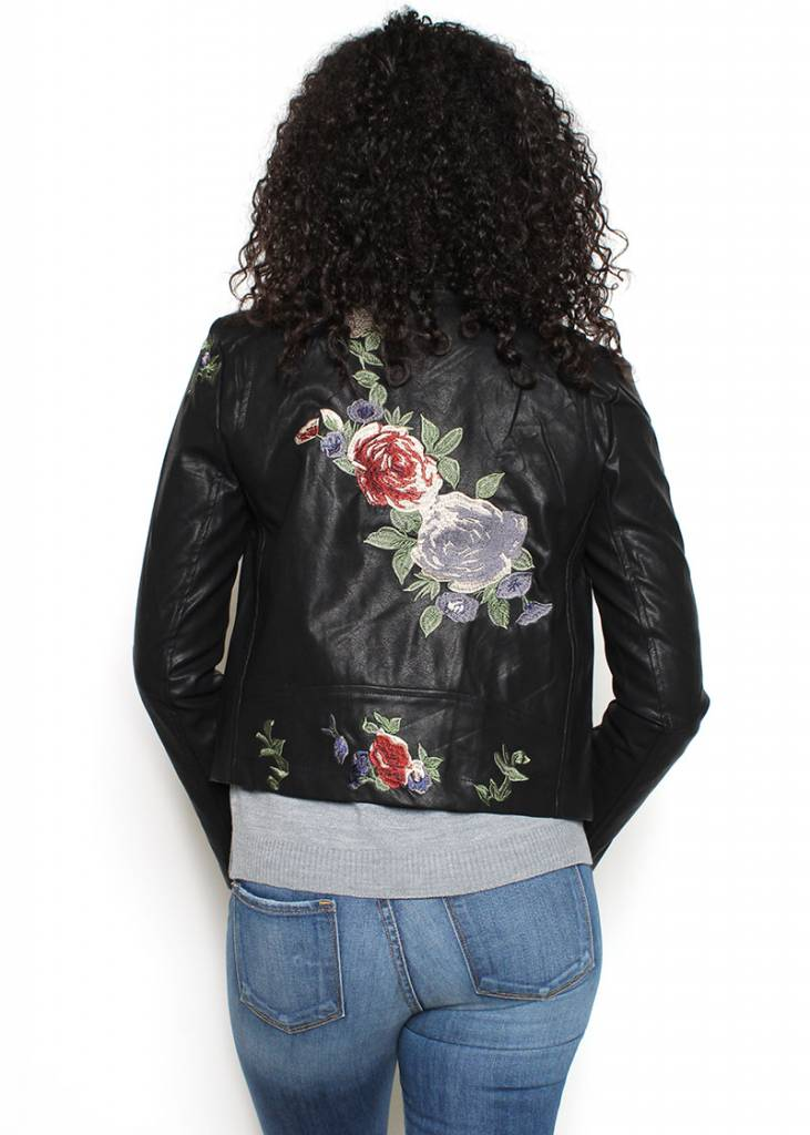 DEMI EMBROIDERED LEATHER JACKET