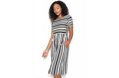 ELISE STRIPED MIDI DRESS